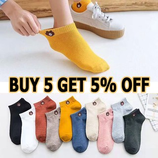 【Ready Stock】Fashion Bear Socks Women Breathable Deodorant Stealth Ankle Cotton Sock