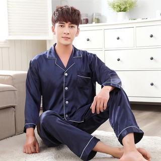 Pyjama men's new long-sleeved pajamas noble temperament silk home clothes couple's pajamas