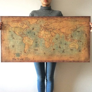 【Taste】The old World Map large Vintage Style Retro Paper Poster Home deco