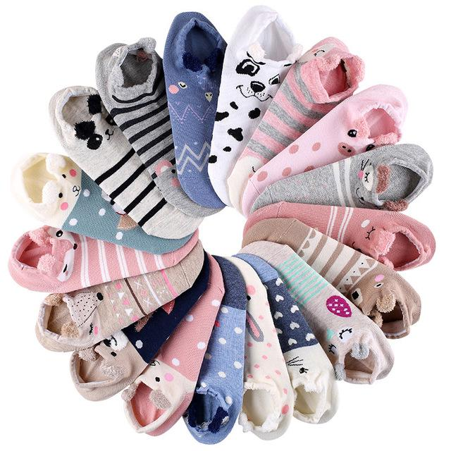 3D Lovely Animal Cotton Socks Women Girls Harajuku Casual Soft Ankle Boat Socks