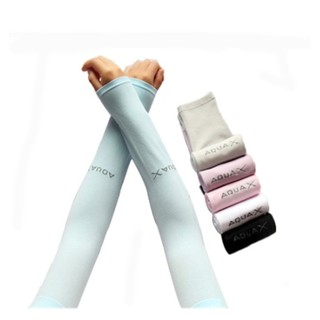 [Ready Stock] Aqua X & Let's Slim Arm Sleeves Cooling Seamless Hand Sock Ice Silk