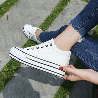 Han edition increased within the new canvas shoes female leisure single spring joker white students large base platform