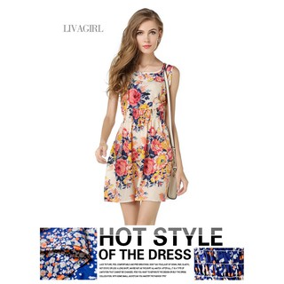 2019 aliexpress hot style summer plus-size sundress print skirt sleeveless floral chiffon dress