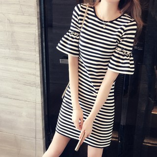 Striped Long Loose T -shirt Summer With Thin Cotton Short-sleeve