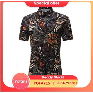 Yofanssummer casual Floral Shirt short sleeve business slim fit men shirt