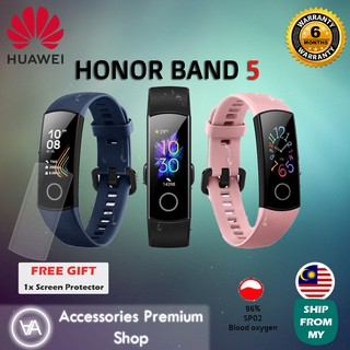 (Ready Stock!!!) (LATEST) Honor Band 5 AMOLED Smart Wristband Oximeter Blood Oxygen SpO2 Heart Rate Tracker Swimming