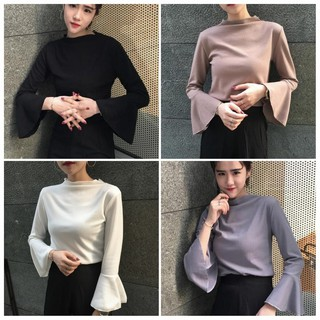 Msia Ready Stock🔥T1902 High Neck Basic Bell Blouse