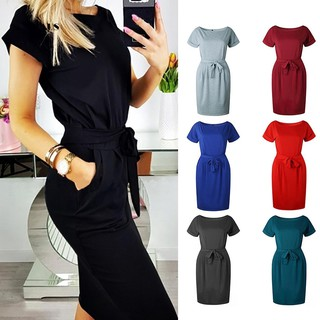 Short Sleeve Waistband Slim Fit Women Solid Color Party Sexy Dress
