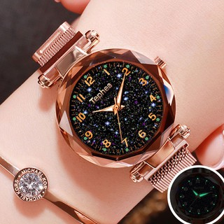 Fashion Women Starry Watches Wristwatch Stainless Steel Magnetic Buckle Strap Quartz watch