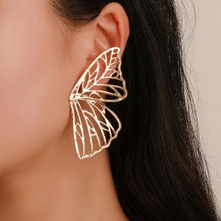 Stud Earring Accessories Korean Version Of Fan-Shaped Creative Exaggerated Hollow Butterfly Wings Earrings Jewelry