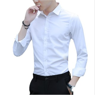 Asian size M-5XL men's Korean-style Slim fit business solid color stitching long-sleeved shirt