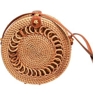 Spiral Decoration Vintage Literary Women Button Woven Rattan Sling Bag