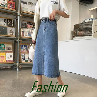 【Ready Stock】Ins denim skirt female high waist was thin in the long section over the knee bag