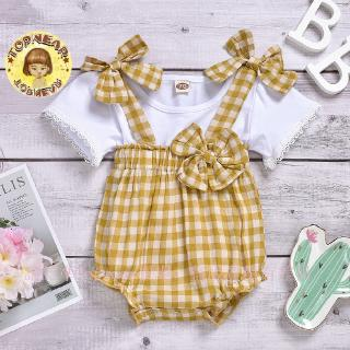 Girl's Clothing Set Girl Children's Wear New Baby New Yellow Bowknot Plaid Belt Halter Suit for Girls