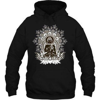 Men Hoodie Black Om Aum Yoga Buddha Chakra Meditation India Hobo Boho Peace Streetwear
