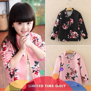 【Crazy sales】Hot Sale Kids Girl Flower Baseball Coat Long Sleeve Jacket Windbreak Outerwear