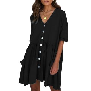 【Q6】 UK Womens Holiday Loose Button Pocket Ladies Summer Beach Mini Swing Sun Dress