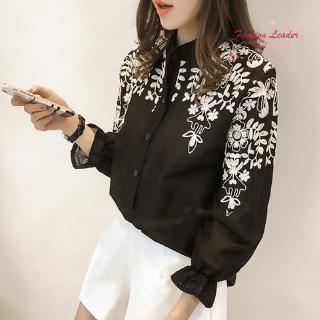 Women Cotton Blouse Embroidery Flower Long Sleeve Autumn Spring Tops Plus Size