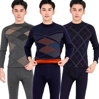Men's Thermal Underwear Set Plus Velvet Thick Round Neck Youth Pants High Collar Season Middle-aged and Older Men Underw