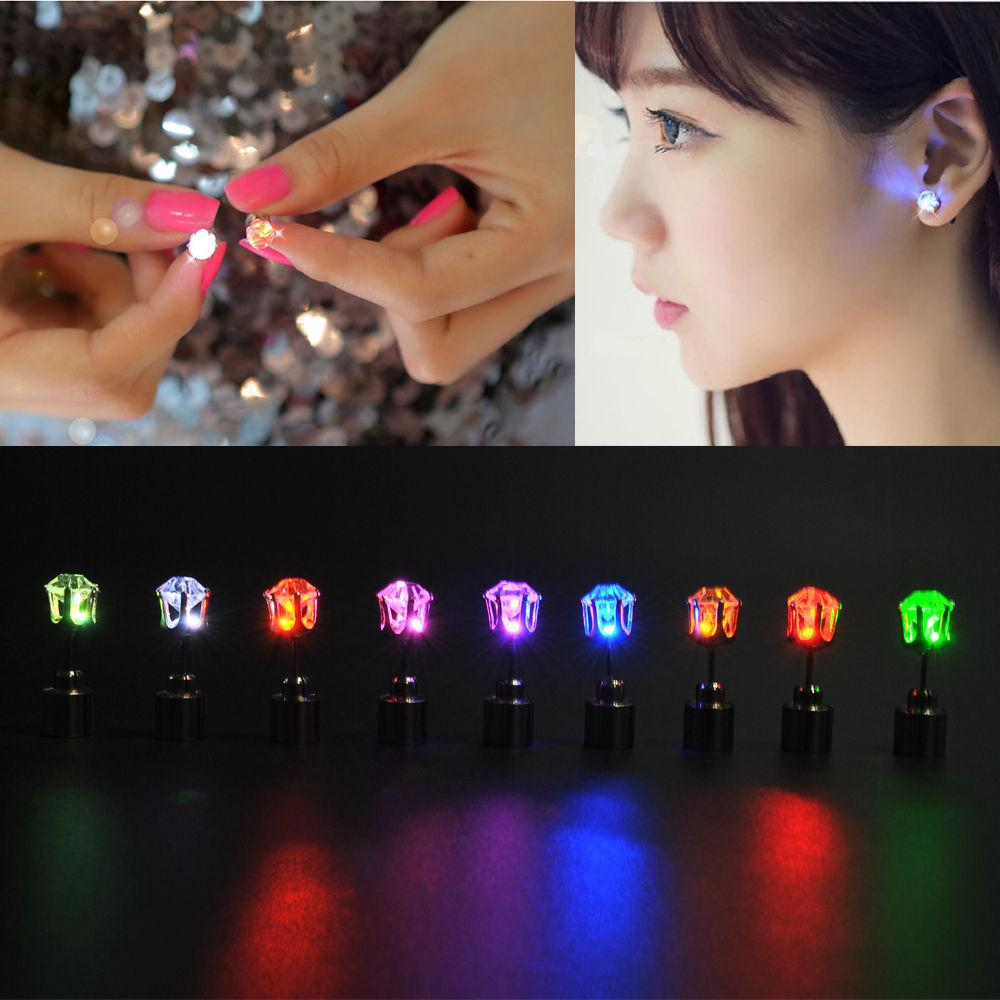 1Pair  Fashion Light Up LED Bling Ear Studs Earrings Accessories for Dance Party
