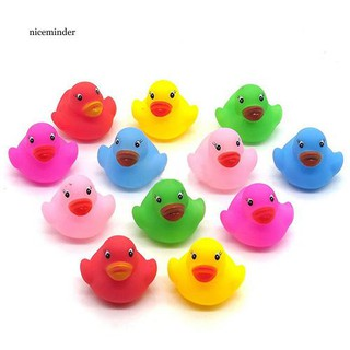 [Real stock] 12Pcs Mini Colorful Bathtime Kids Baby Bath Toy Ducks Squeaky Water Play Fun
