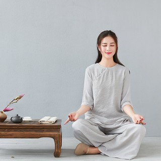 Yoga clothing suit Spring and summer new solid color shirt loose wide leg pants