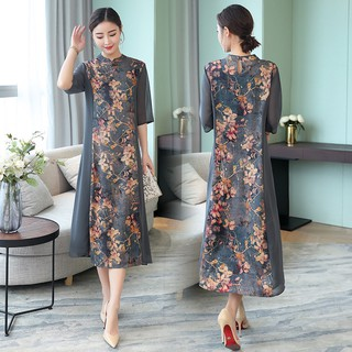 Vintage Women Chinese Silk Dress qipao Reformed Cheongsam Plus Size Dresses