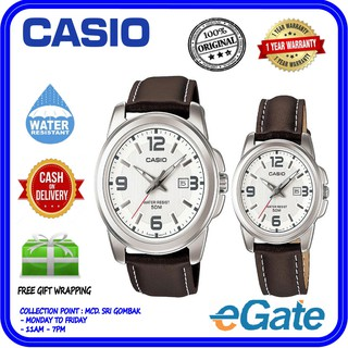 Casio MTP-1314L-7A & LTP-1314L-7A Analog Couple Brown Leather Band White Dial Original Casual Watch