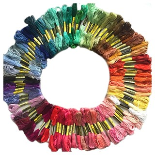 100 skeins coloured embroidery thread cotton cross needle floss kit