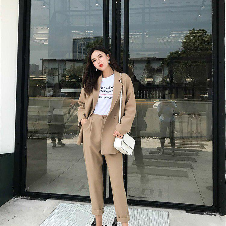 Women Solid Khaki Pant Suits Notched Collar Blazer And Pencil Pant Two Piece Sets Loose Double Breasted Work Suits