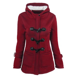 Women Hooded Winter Warm Jackets Coat Fashion Thick Wool Coat Parka Wine Red