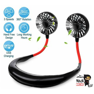 (Ship From KL) 3.0 Hands Free Mini Neck Band Portable Mini Air Fan With Neckband Dual Fan USB rechargeable FAN CHARGING