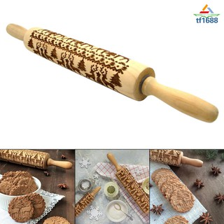 Christmas Rolling Pin Engraved Carved Wood Embossed Rolling Pin Kitchen Tool