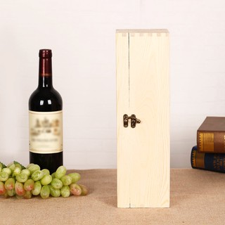 ZJ△Wooden Red Wine Box Pine Wood Single Bottle Packing Box Gift