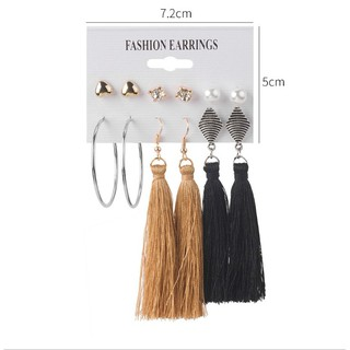 【Love2Self】6 Pair/Set Bohemian Fashion Multiple Styles Female Boutique Earrings