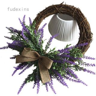 fudexins Rustic Rattan Artificial Lavender Wreath Ring Front Door Wall Mirror Venue Door Decoration