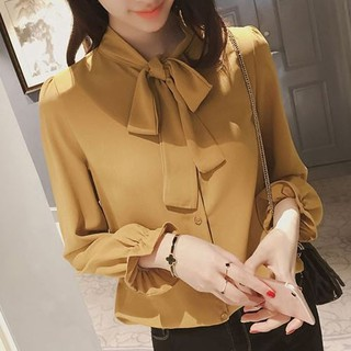 Korean Version Shirt Loose Bow-Tie Blouse Lace Chiffon Blouse Long Sleeve