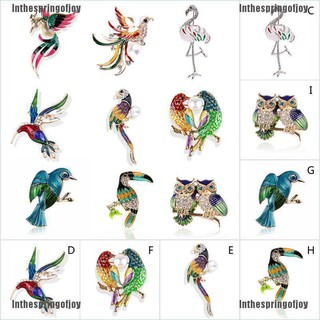 Inthespringofjoy Women Flamingo Crystal Bird Phoenix Animal Bird Owl Breastpin Brooch Pin Jewelry