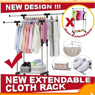 WHOLESALE1 Day DeliveryUnicorn1991 Double Pole Adjustable Stainless Steel Cloth Hanger Rack