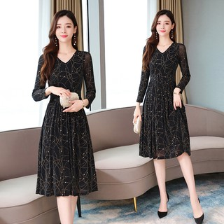 Dress female spring and autumn 2019 new Korean version of temperament long-sleev