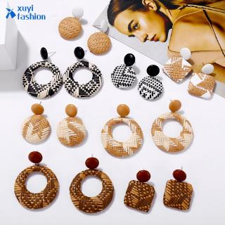 Geometric Rattan Weave Round Square Hollow Drop Female Hoop Earring Jewelry