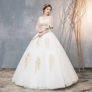 Elegant Long Sleeved Embroidery Wedding Clothing Women Dress for Wedding