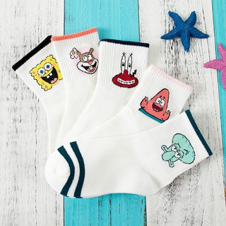 Ready Stock! Cute Cartoon Women SpongeBob SquarePants Cotton White Socks