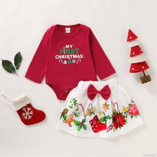Superseller Baby Girl Christmas Romper Set Long Sleeve Tops + Floral Skirts With Bowknot