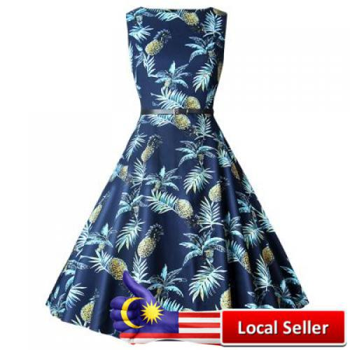 Lady Chic Pineapple Flowers Waisted Boat Neck Sleeveless Dress for Women (BLUE)