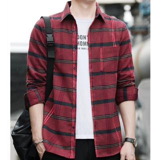 Spring and autumn new men's Korean plaid shirt trend casual fashion slim striped flower shirt