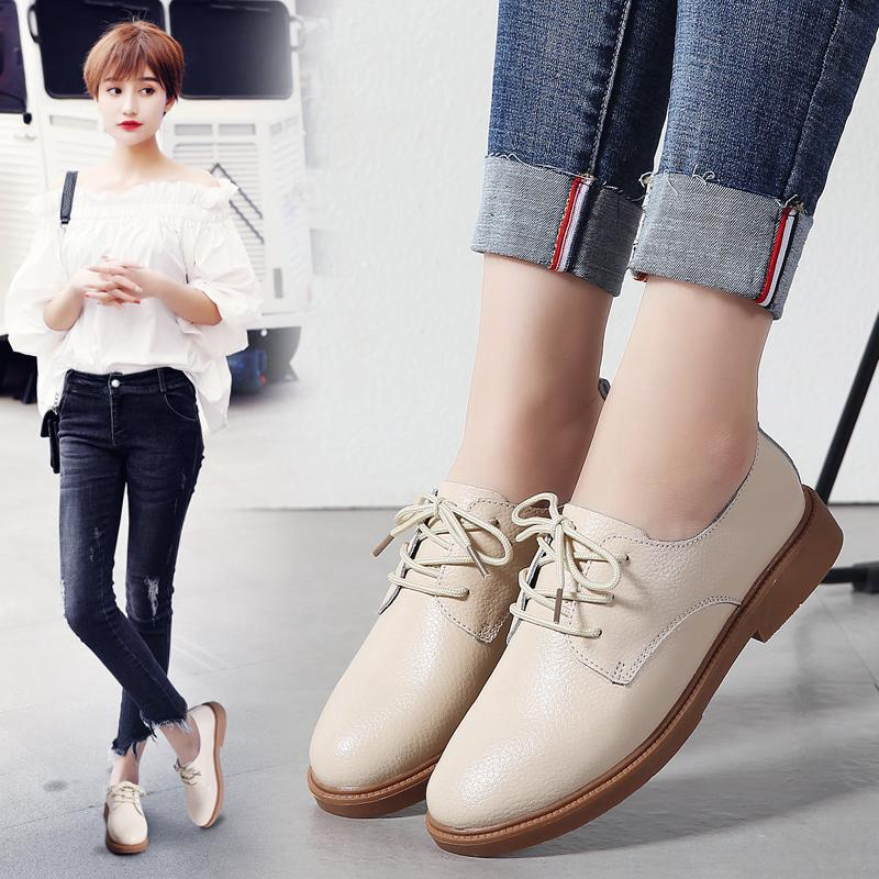 Black small shoes female England new college wind wild work shoes dress interview tie with thick