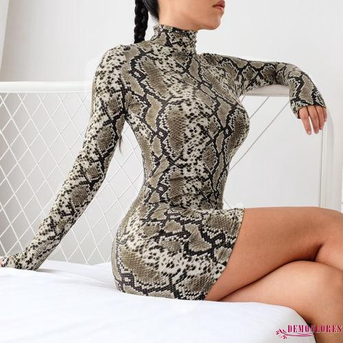 EDL-Fashion Ladies Womens Snake Print Dress Bodycon Party Club Wear Mini Dress