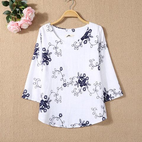 M-6XL Embroidery Blouse Women blouse Loose  3/4 Sleeve Cotton Vintage Floral  blouse Tops Plus Size