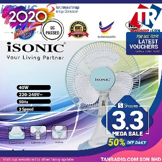 iSonic/Midea Table Fan Scope High 3 Speeds with SIRIM (12